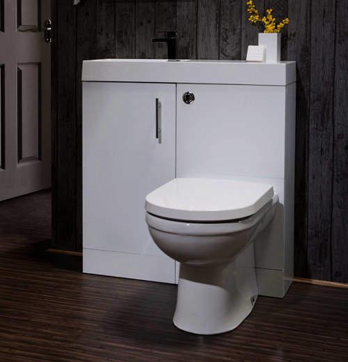Italia Furniture Cube Plus Pack With White Vanity, BTW Unit & Basin (LH).
