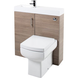 Italia Furniture Cube Plus Pack With Oak Vanity, BTW Unit & Basin (LH).