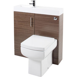 Italia Furniture Cube Plus Pack With Walnut Vanity, BTW Unit & Basin (LH).