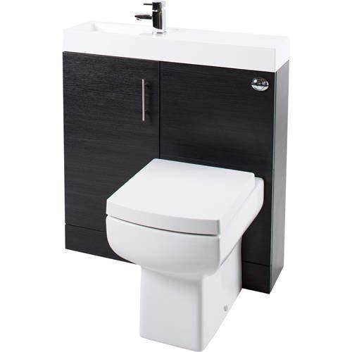 Italia Furniture Cube Plus Pack With Black Ash Vanity, BTW Unit & Basin (LH).