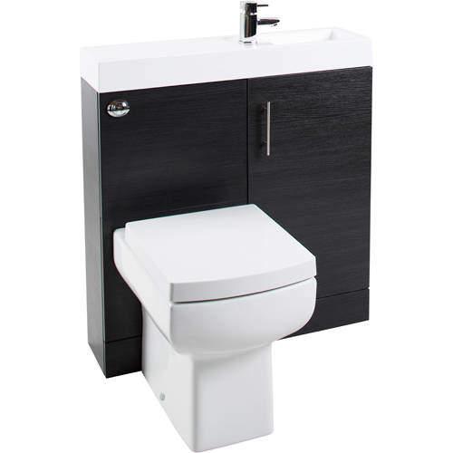 Italia Furniture Cube Plus Pack With Black Ash Vanity, BTW Unit & Basin (RH).