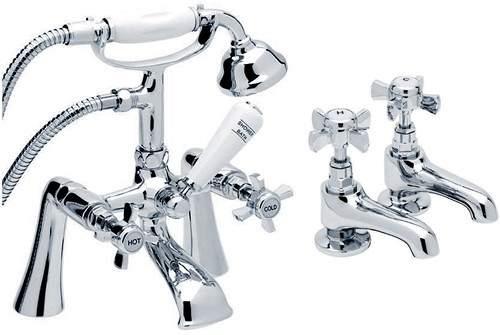 Hydra Eton Basin & Bath Shower Mixer Tap Set (Free Shower Kit).