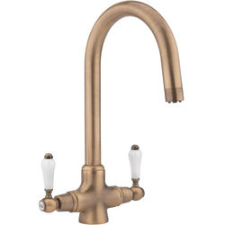 Hydra Evie Pro Kitchen Tap With Twin Lever Controls (Copper).