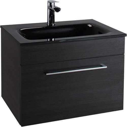 Italia Furniture 600mm Vanity Unit With Drawer & Black Glass Basin (Black).