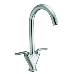 Hydra Grace Kitchen Tap With Twin Lever Controls (Brushed Steel).