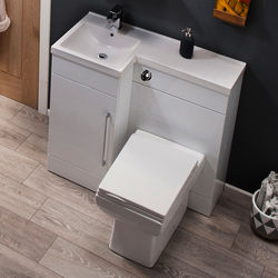 Italia Furniture Compact Vanity Pack With BTW Unit & Basin (LH, Gloss White).