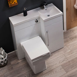 Italia Furniture Compact Vanity Pack With BTW Unit & Basin (RH, Gloss White).