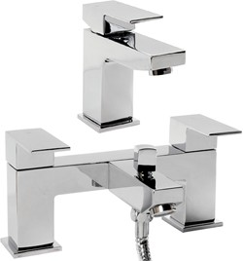 Hydra Lucca Basin & Bath Shower Mixer Tap Set (Chrome).