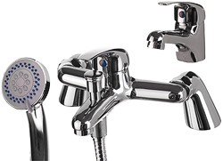 Hydra Ness Basin & Bath Shower Mixer Tap Set (Free Shower Kit).