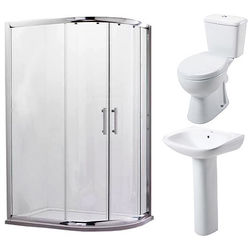 Oxford En Suite Bathroom Pack With 900x760mm Offset Enclosure (RH, 6mm).