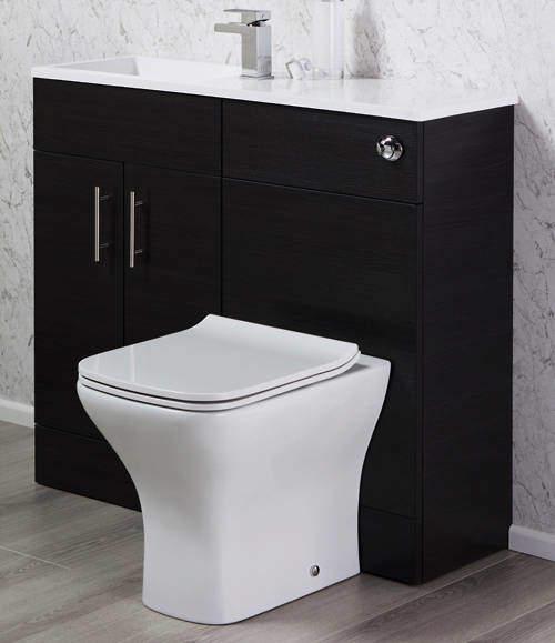Italia Furniture Slimline Pack With Black Ash Vanity, BTW Unit & Basin (LH).