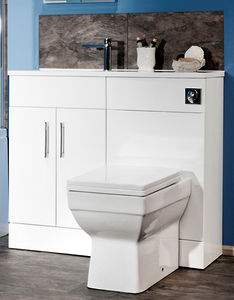 Italia Furniture Slimline Pack With White Vanity, BTW Unit & Basin (LH).