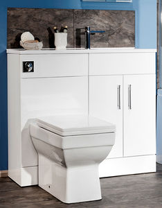Italia Furniture Slimline Pack With White Vanity, BTW Unit & Basin (RH).