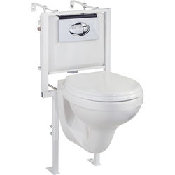 Oxford Wall Hung Toilet Pan With Seat, Wall Frame, Concealed Cistern & Button.