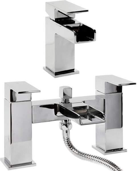 Hydra Waterfall Waterfall Basin & Bath Shower Mixer Tap Set (Chrome).