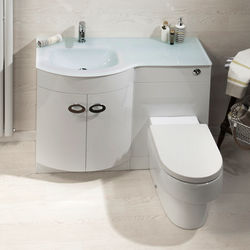 Italia Furniture Vanity Unit Pack With BTW Unit & White Glass Basin (LH, White).