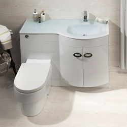 Italia Furniture Vanity Unit Pack With BTW Unit & White Glass Basin (RH, White).