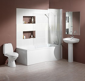 Hydra Complete Shower Bath Suite (Right Hand). 1700x750mm.