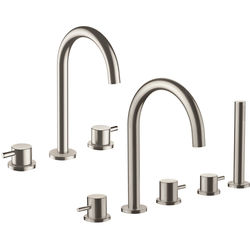 JTP Inox 3 Hole Basin & 5 Hole Bath Shower Mixer Tap Pack (Stainless Steel).