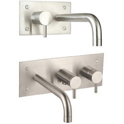 JTP Inox Wall Mounted Basin & Bath Shower Mixer Tap Pack (Stainless Steel).