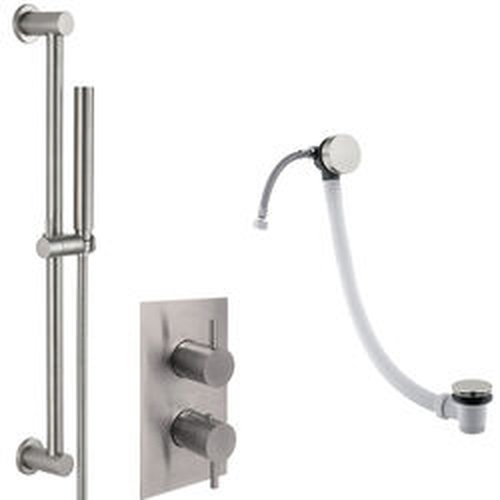 JTP Inox Thermostatic Shower Valve, Slide Rail Kit & Bath Fill Waste (S Steel).