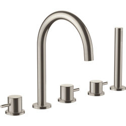 JTP Inox 5 Hole Bath Shower Mixer Tap With Kit (Stainless Steel).