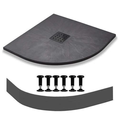 Slate Trays Quadrant Easy Plumb Shower Tray & Waste 900mm (Graphite).