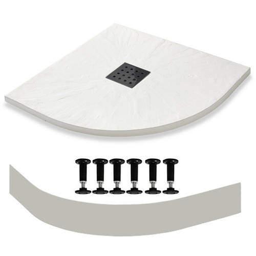 Slate Trays Quadrant Easy Plumb Shower Tray & Waste 900mm (White).
