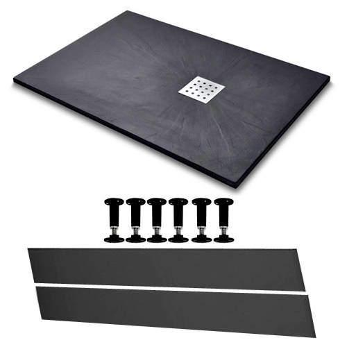 Slate Trays Rectangular Easy Plumb Shower Tray & Waste 1400x800 (Black).