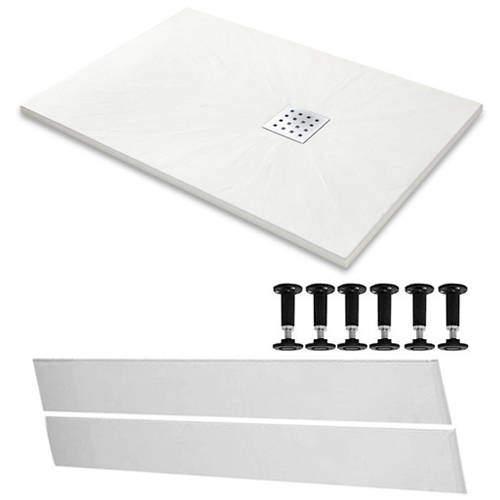 Slate Trays Rectangular Easy Plumb Shower Tray & Waste 1400x800 (White).