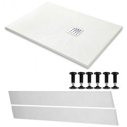 Slate Trays Rectangular Easy Plumb Shower Tray & Waste 1400x900 (White).