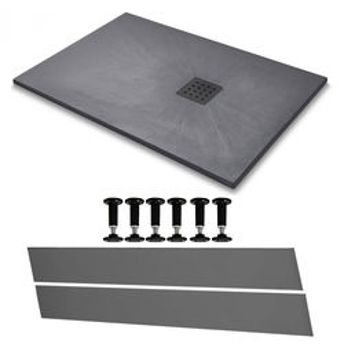 Slate Trays Rectangular Easy Plumb Shower Tray & Waste 1600x800 (Graphite).