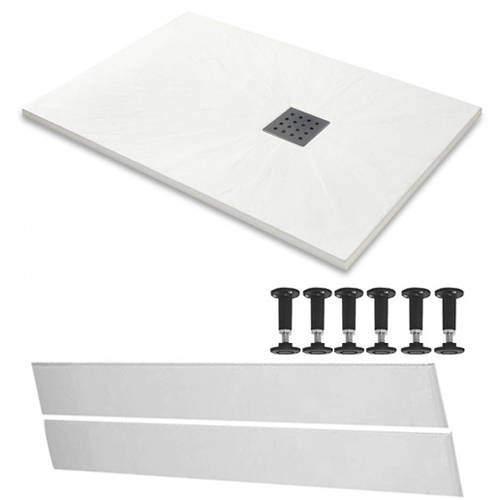 Slate Trays Rectangular Easy Plumb Shower Tray & Waste 1700x800 (White).