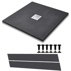 Slate Trays Easy Plumb Square Shower Tray & Waste 900x900 (Graphite).