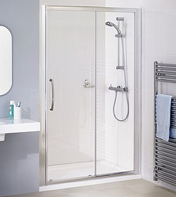 Lakes Classic 1600mm Semi-Frameless Slider Shower Door (Silver).