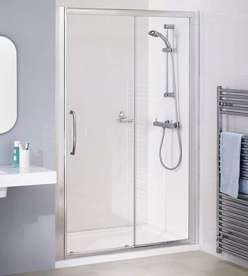 Lakes Classic 1700mm Semi-Frameless Slider Shower Door (Silver).