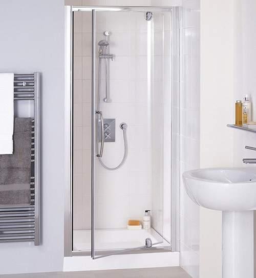 Lakes Classic 1000mm Semi-Frameless Pivot Shower Door (Silver).