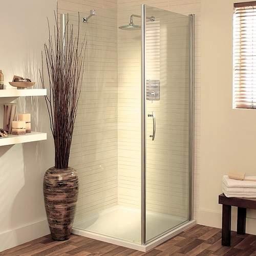 Lakes Italia 1000mm Square Shower Enclosure, Pivot Door & Tray (Silver).