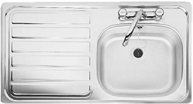 Leisure Sinks Lexin 1.0 bowl stainless steel kitchen sink with left hand drainer. Waste kit supplied.