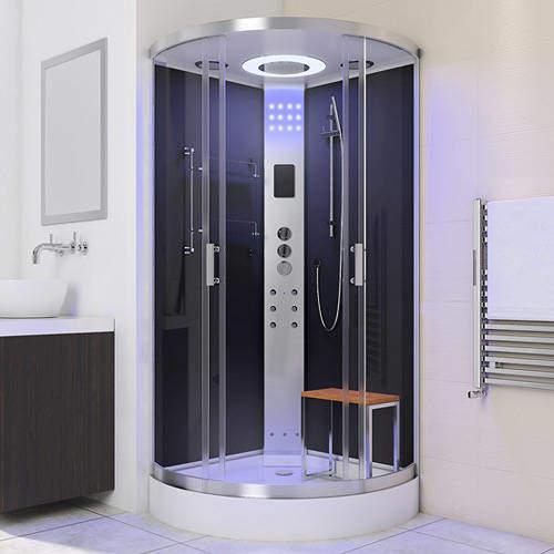 Lisna Waters Quadrant Steam Shower Enclosure 900x900mm (Black Glass).