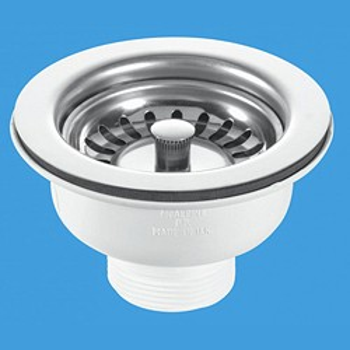 """McAlpine Wastes 1 1/2"""" x 113mm Flange Basket Strainer Sink Waste."""