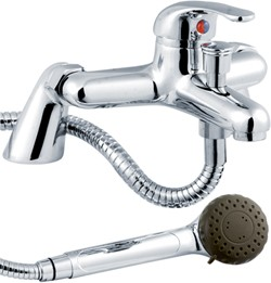 Crown D-Type Bath Shower Mixer Tap With Shower Kit (Chrome).