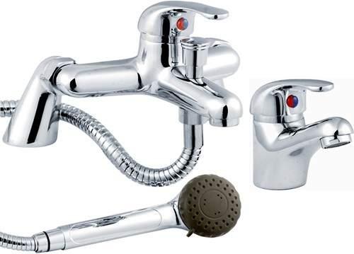 Crown D-Type Basin & Bath Shower Mixer Tap Set (Chrome).
