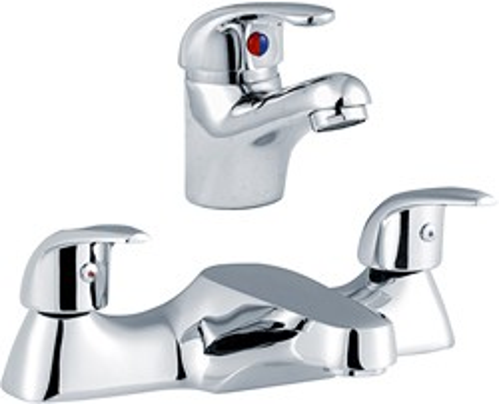 Crown D-Type Basin & Bath Filler Tap Set (Chrome).