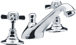 Crown Traditional 3 Tap Hole Basin Mixer Tap (Chrome).
