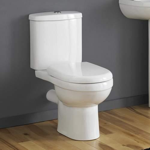 Crown Ceramics Ivo Toilet With Push Flush Cistern & Soft Close Seat.