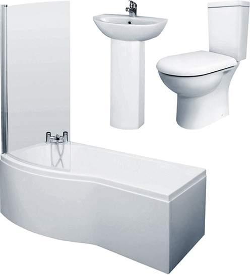 Crown Suites 1500mm Shower Bath Suite With Toilet & Basin (Left Handed).