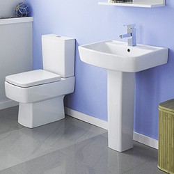 Crown Ceramics Bliss 4 Piece Bathroom Suite With Toilet & 600mm Basin.