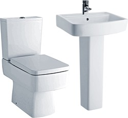 Crown Ceramics Bliss 4 Piece Bathroom Suite With Toilet & 520mm Basin.