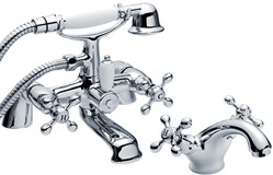 Viscount Basin & Bath Shower Mixer Tap Set (Chrome).